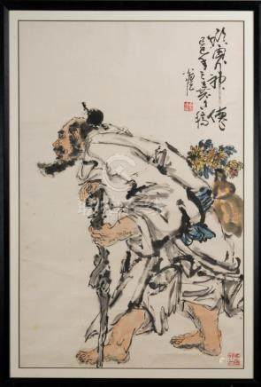 Chinese Art Painting possibly depicting a Lohan Ink and colo