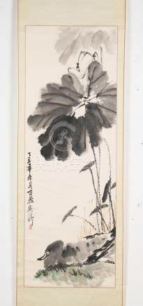 Chinese Art An ink on paper vertical scroll depicting a lotu