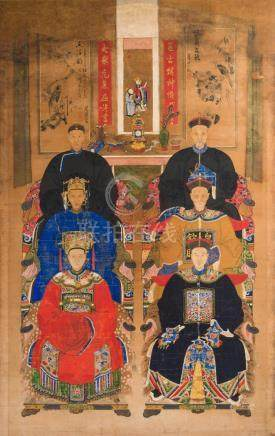 Chinese Art A large painting depicting officiers and wifes I