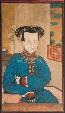 Chinese Art Painting portraying an opium smoker Ink and colo