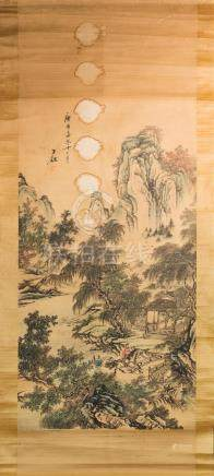 Chinese Art Four Oriental paintings on paper China and Japan