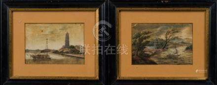 Chinese Art A pair of oil on canvas paintings depicting Chin