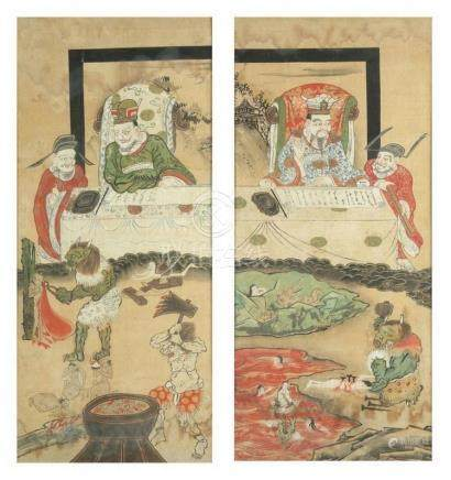 Chinese Art A pair of paintings depicting the Daoist hell Ch