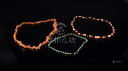 Chinese Art Three necklaces made of amber, jade and carnelia