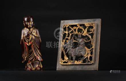 Chinese Art A lot composed two wooden lacquer items: a carve