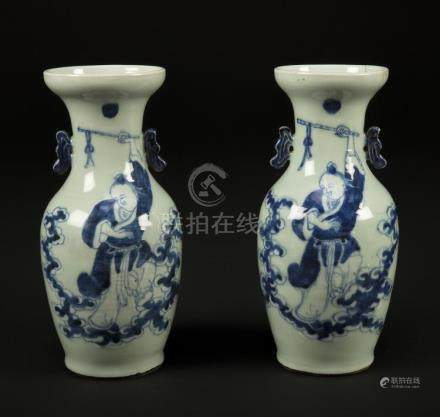 Chinese Art A pair of pottery blue and white vases painted w
