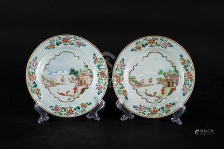 Chinese Art A pair of export porcelain dishes painted with f