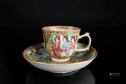 Chinese Art A Canton porcelain cup and saucer decorated with
