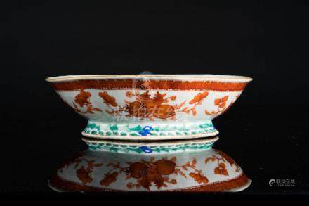 Chinese Art A lobed porcelain footed bowl, enamelled with re
