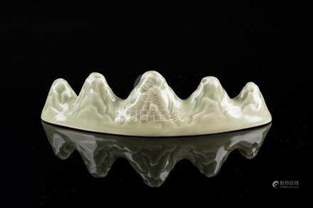 Chinese Art A celadon porcelain brush rest China, 20th centu