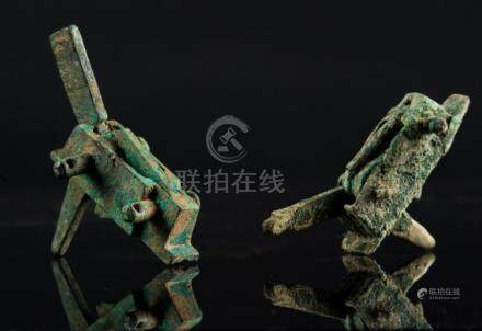 Chinese Art Two crossbow bronze mechanisms China, Warring St