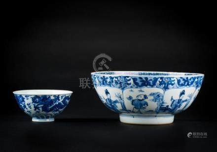 Chinese Art Two blue and white porcelain bowls: one Kangxi p