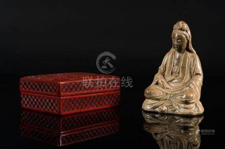 Chinese Art A red lacquered box and cover carved with schola