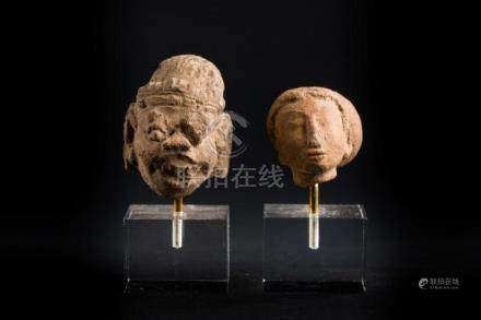 South-Est Asian Art Two earthenware heads Indonesia, Java, 1