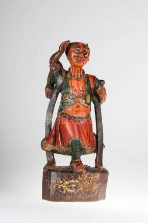 Chinese Art A polychrome wooden figure of an evil China, 19t