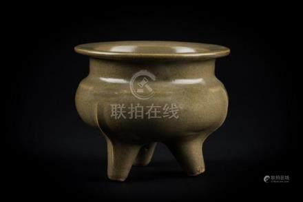 Chinese Art A tripod celadon glazed pottery censer China, 20