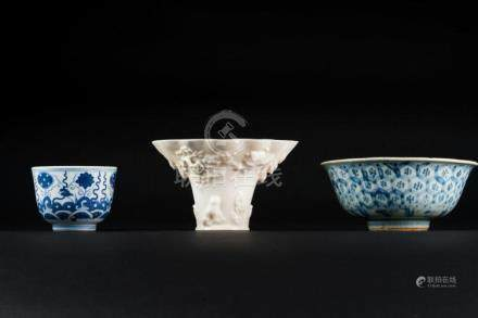 Chinese Art Three porcelain vessels 19th century