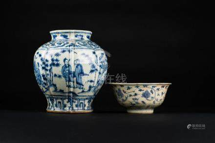 South-Est Asian Art Two South-East Asian blue and white pott
