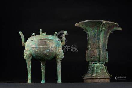 Chinese Art Two arcaic style ritual bronze vessels: a food t