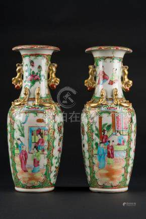 Chinese Art A pair of Canton porcelain vases China, early 20