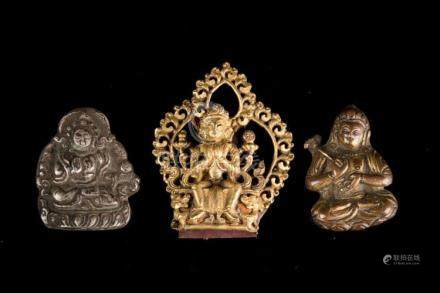 Himalayan Art Three small Buddhist figures Tibet, 18th centu