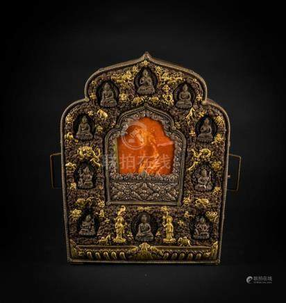 Himalayan Art A large embossed silver, partially gold plated