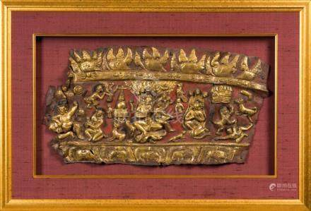 Himalayan Art An embossed gilt copper frieze depicting chara