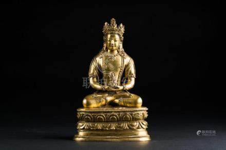 Himalayan Art A gilt bronze figure of Amitayus Mongolia, 18t