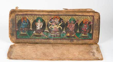 Himalayan Art A Buddhist manuscript on paper with two colorf