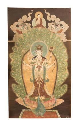 Chinese Art Thangka depicting Amogapasha Lokeshvara standing