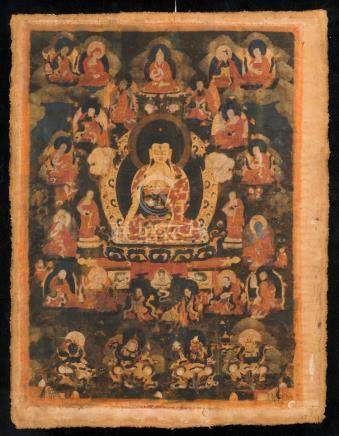Himalayan Art A thangka depicting Buddha with Arhat Tibet, 1