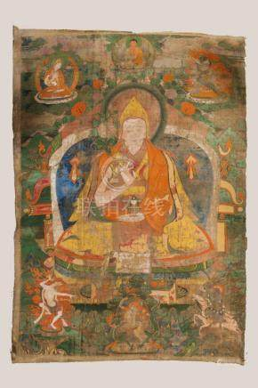 Himalayan Art Three Buddhist thangkas Sino-Tibet, 18th-19th