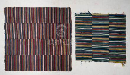 Himalayan Art Two Panden aprons with coloured bands Tibet, 1