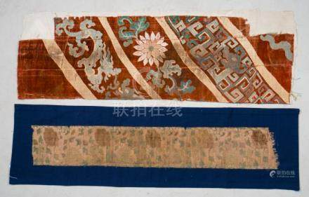 Himalayan Art Two velvet fragments: one decorated with drago