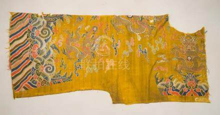 Himalayan Art A large silk robe fragment embroidered with dr