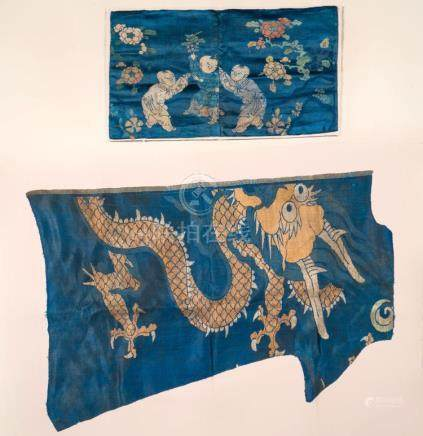 Chinese Art Two blue silk fragments: one embroidered with dr