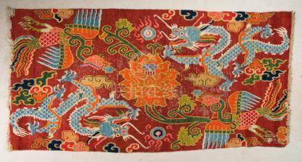Himalayan Art A Tibetan carpet decorated with dragons, phoen