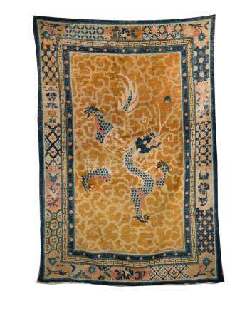 Chinese Art A Ningxia carpet with blue dragon over yellow cl
