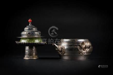 Himalayan Art A jade cup and silver teapot Tibet, 19th-20th