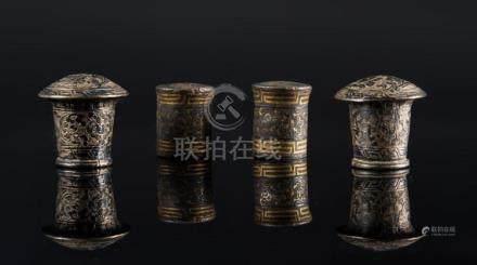 Himalayan Art Four silver thangkas stick endings Tibet, 18th