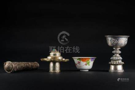 Himalayan Art Lot composed of a cup, a document holder and a