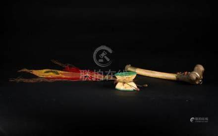 Himalayan Art A pair of Buddhist ritual tools: a drum (damar