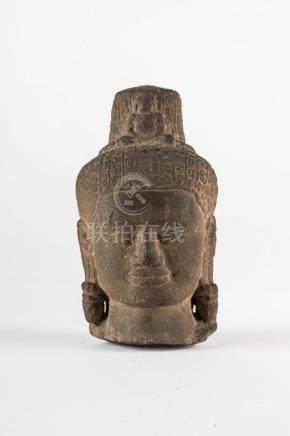 South-Est Asian Art A stone head of Avalokitesvara Cambodia,