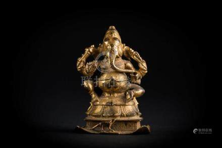 Indian Art A gilt bronze figure of Ganesh Southern India, Vi