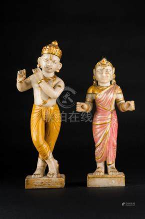 Indian Art A pair of polychrome marble sculptures portraying