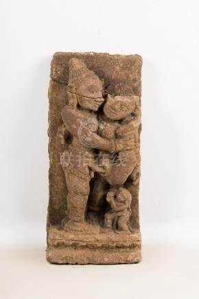 Indian Art A sandstone sculpture depicting an erotic scene (