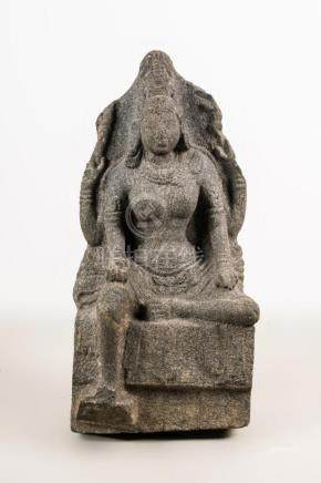 Indian Art A granite sculpture portraying Shiva Southern Ind