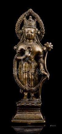 A FINE BRONZE FIGURE OF PADMAPANI; KASHMIR, ca. 12th ct.,, standing in slight tribhanga on a lotus p