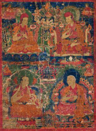 FOUR SCHOLARS OF THE SAKYA-PA TRADITION, Tibet, ca. 17th ct. Tempera and gold on cotton, secondary b
