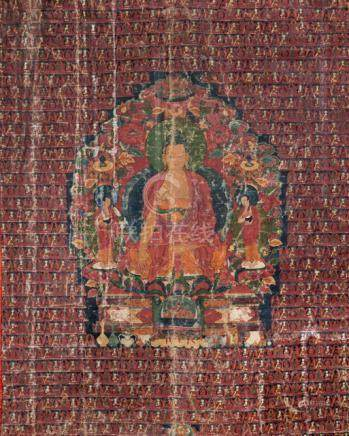 GAUTAMA BUDDHA WITH HIS DISCIPLES SHARIPUTRA AND MOGHALLAN, Tibet, 17th/18th ct. Tempera on cotton,